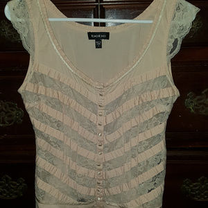 Small Light Pink Lace See-Through Button Up Top